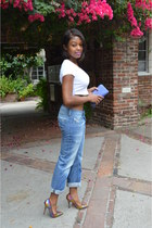 white American Apparel top - blue Diesel jeans - sequin Aldo pumps