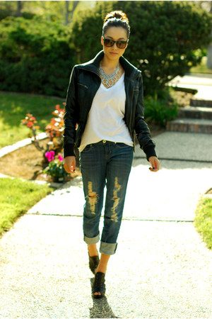 navy DeMasque pants - black Wet Seal jacket - white Forever 21 shirt
