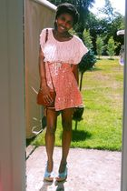 orange Miss Selfridge skirt - pink Primark t-shirt - blue payless shoes - vintag