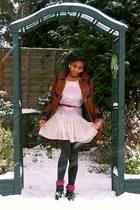 tawny Topshop coat - nude Topshop dress - dark brown tesco tights - maroon Prima
