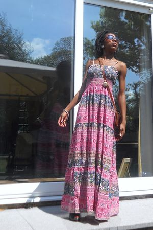 pink Boohoocom dress - black Ebay shoes - brown French Market sunglasses - gold