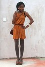 Bronze-shift-asos-dress-tawny-cross-vintage-bag-light-brown-thigh-high-tesco
