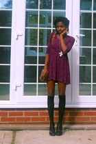 purple Hooch dress - brown vintage bag - black Matalan socks - black Ebay shoes