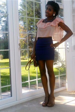 pink Alyssa Nicole top - blue Topshop skirt - brown asos shoes - brown vintage b