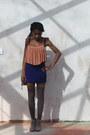 Brown-thigh-high-tesco-socks-navy-bodycon-topshop-skirt-light-orange-pleats-
