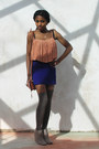 Brown-thigh-high-tesco-socks-navy-bodycon-topshop-skirt-light-orange-pleats-