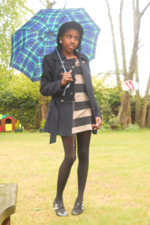 beige H&M dress - black Dorothy Perkins shoes - black tesco tights - blue George