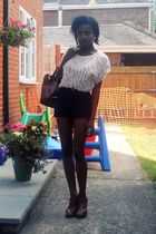 blue corduroy American Apparel shorts - brown wedges asos shoes