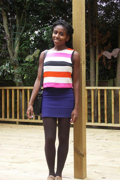 colour block H&M top - bodycon Topshop skirt
