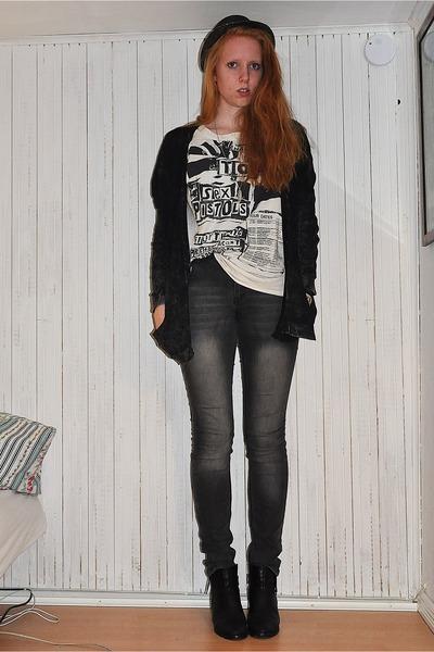 black tiamo boots - gray skinny GINA TRICOT jeans - black straw trilby Dixie hat