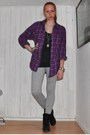 Black-din-sko-boots-gray-h-m-trend-pants-purple-monki-shirt-gray-h-m-divid