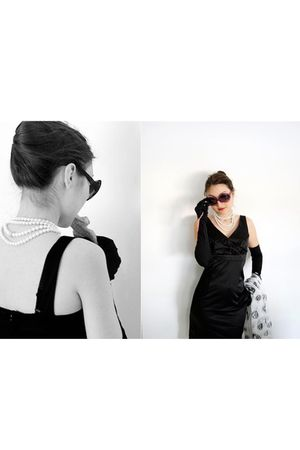 black dress - white Alexander McQueen scarf