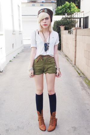 dark brown vintage hat - olive green vintage shorts - white ripped vintage t-shi