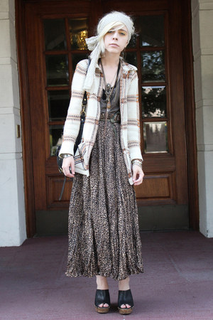 ivory vintage cardigan - tan vintage skirt - olive green handmade top