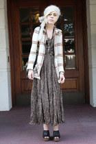 ivory vintage cardigan - tan vintage skirt - olive green handmade top