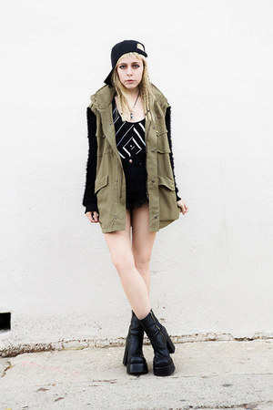 olive green Story of Lola jacket - black spiked Bitching &amp; Junkfood shorts