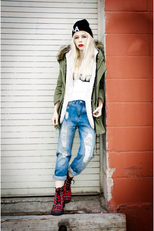 brick red plaid TUK boots - olive green Chicwish jacket - white dimepiece top