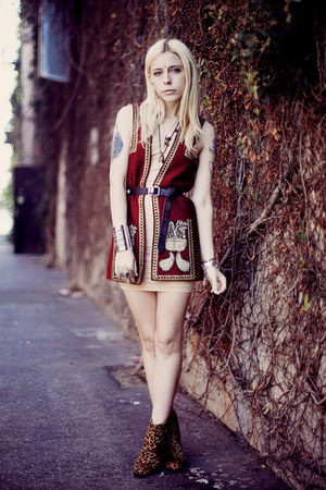 brick red vintage vest - camel Dolce Vita boots - nude American Apparel dress