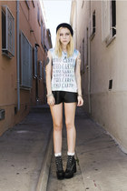 light blue Human Dust t-shirt - black tardy Jeffrey Campbell boots