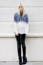 black LAST CALL leggings - black lucky boots - blue dip-dyed CRASH & BURN shirt