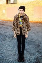 camel leopard Nasty Gal jacket - crimson Dr Martens boots - black Ksubi jeans