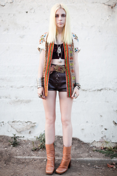 camel vintage boots - carrot orange vintage shirt - dark brown vintage shorts