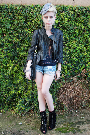 black leather catherine malandrino jacket - light blue cut-off armani shorts - n