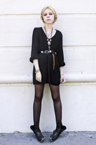 black Steve Madden boots - black vintage dress