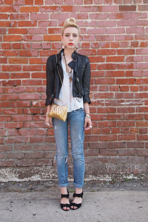 Urban Outfitters shoes - destroyed vintage jeans - biker boots catherine malandr