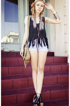 black crocheted Chicwish vest - light blue studded denim GiGi Vintage shorts