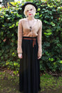 Black-bandless-fedora-vintage-hat-black-pleated-maxi-vintage-skirt-tan-vinta
