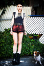 navy tee vintage shirt - black YRU boots - ruby red DIY shorts