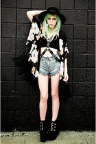 black Missguided shoes - black Missguided jacket - sky blue Missguided shorts