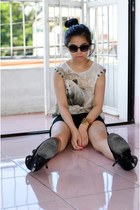 black suede Bazaar boots - black black H&M shorts - army green Zara top