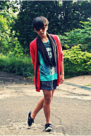 orange Forever21 sunglasses - red Topman cardigan - blue Details shirt - gray U