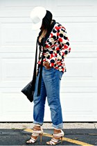blue boyfriend calvin klein jeans - red print Fashion Star for Macys blouse