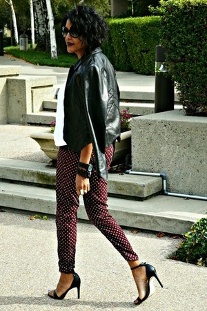 crimson print H&M pants - black leather What Goes Around Comes Around jacket