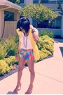 Hot-pink-print-zara-shorts-yellow-ralph-lauren-vest-white-kohls-t-shirt