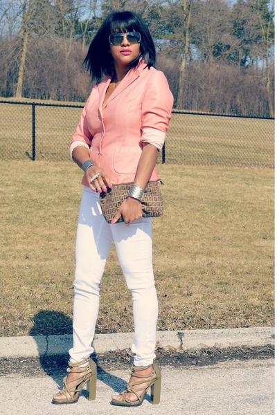 light pink leather Nine West jacket - white skinny jeans