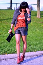 black tweed jacket - black leather Joie shorts - red graphic Chaser t-shirt