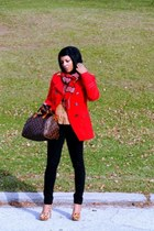 red grane jacket - tawny H&M shirt - black Gap pants - Jessica Simpson heels