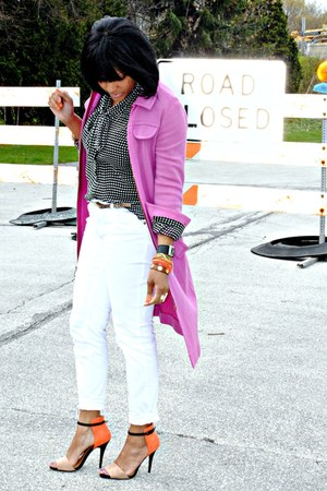 black polka dot victor alfaro blouse - white Guess jeans - pink jacket