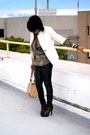 Army-green-print-vintage-blouse-black-rosegold-shoes