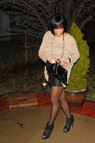 beige BCBGMAXAZRIA sweater - black Joie shorts - black Dolce Vita shoes - black