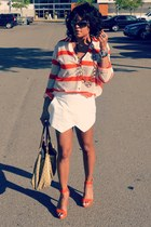 carrot orange stripe Necessary Objects shirt - white Zara shorts