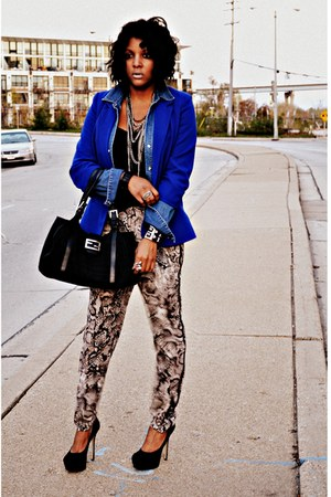 blue blazer - black snakeprint BCBGMAXAZRIA pants