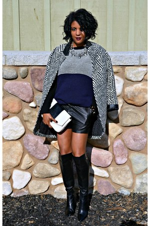 black boots - off white print Zara coat - navy sweater