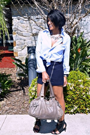 light blue Ralph Lauren shirt - navy pinstripe H&M skirt