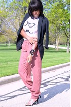 pink trouser pants - black DKNY jeans blazer - white Forever 21 t-shirt