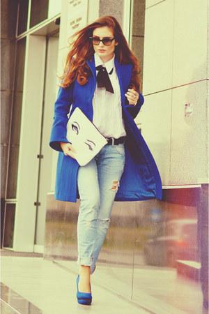 blue Deichmann shoes - off white denim Bershka jeans - Baggy&Funny bag